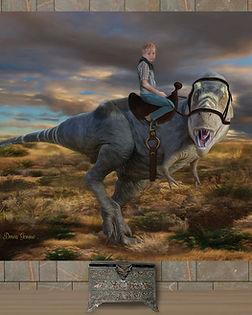 Boy Riding Dinosaur Custom Artwork