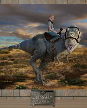 Boy Riding Dinosaur Custom Artwork
