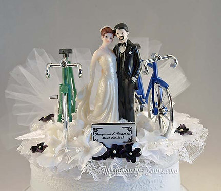 Bicycle Lovers Bride and Groom Customized Wedding Cake Topper