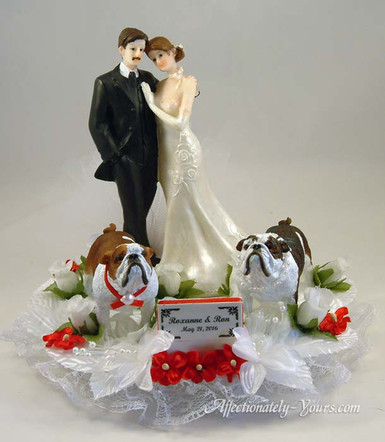 Bride and Groom With Dogs Cake Topper