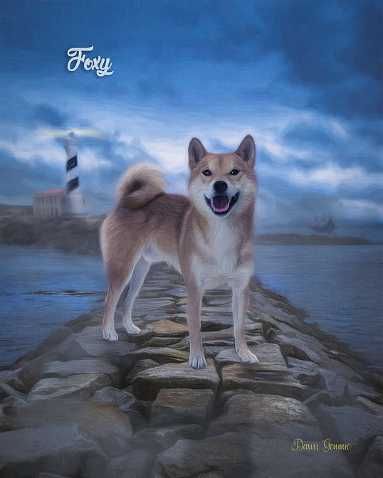 Lighthouse Causeway Custom Pet Portrait