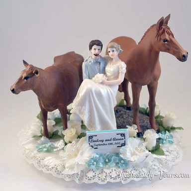 Bride and Groom With Cow and Horse