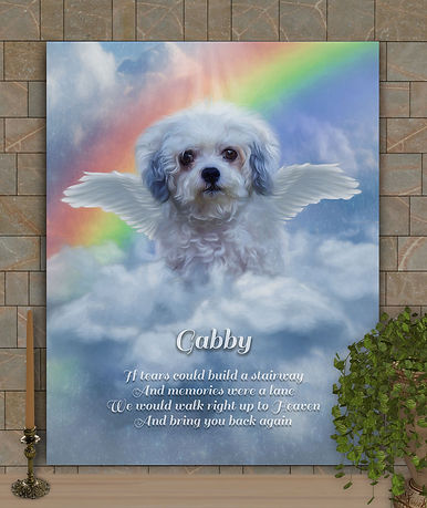 Personalized angel wings memorial dog / cat portrait features blue sky, starlit clouds and angel wings for the loss of a sweet loving furbaby best friend.  All the beauty of hand painted oils without the hefty price tag.