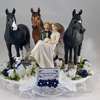 Bride and Groom With Horses and Dog Wedding Cake Topper