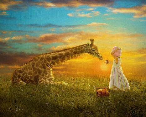 Giraffe and Girl Child Fantasy Digital Oil Painting