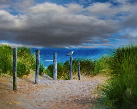 Beach Dunes Secret Hideaway Digital Oil Painting