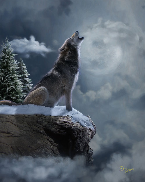 The Howling Moon Wolf Wildlife Digital Oil Painting