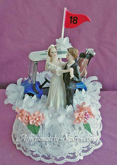 Golf Theme Bride and Groom Customized Wedding Cake Topper