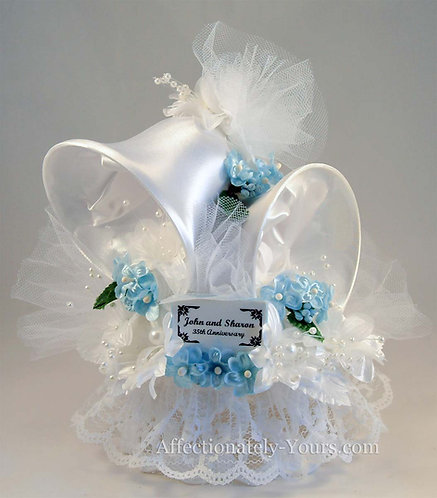 Large Satin Bells Customized Anniversary - Wedding Cake Topper