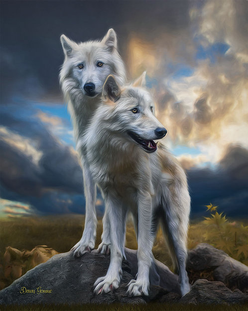 White Wolves Wildlife Digital Oil Painting