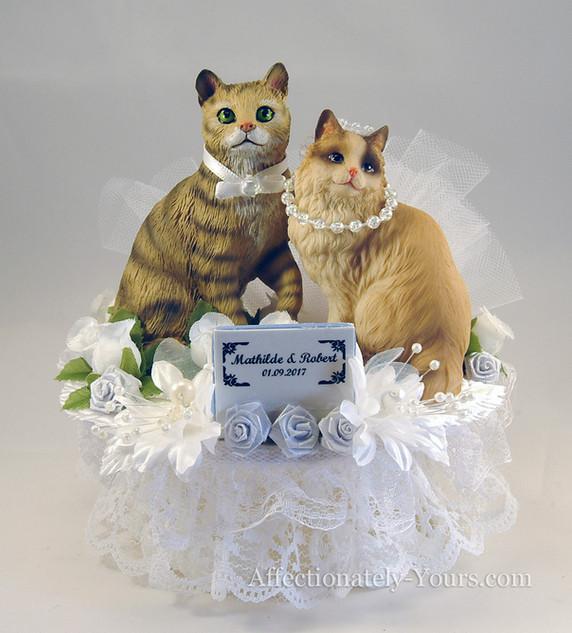 Purrfect Match Cat Bride - Groom Custom Wedding Cake Topper
