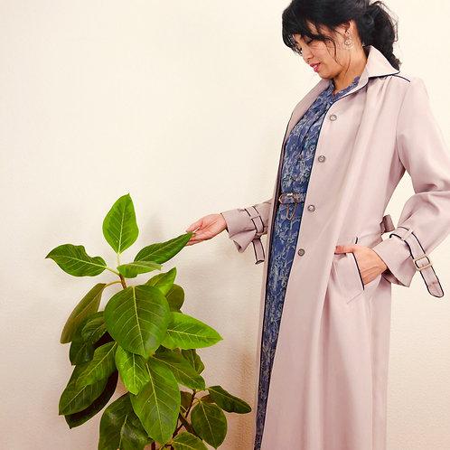 smoky pink gray spring coat w flower print lining 花柄裏地付きのスモーキーピンググレーのスプリングコート