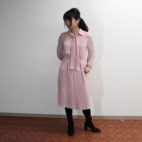 70s Luxury Vintage Pink Romantic Blouse Pleats Dressヴィンテージピンクのロマンティックブラウスプリーツドレス