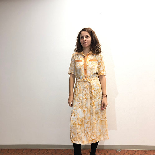 70's vintage orange Thai die print blouse dress. 70年代ヴィンテージオレンジのタイダイプリントブラウスドレス