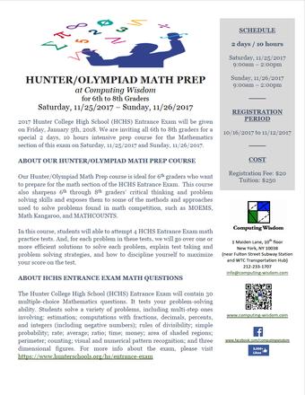 Hunter/Olympiad Math Prep