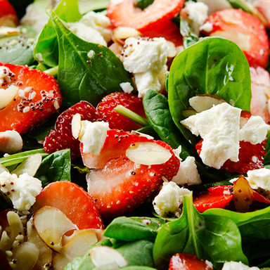 STRAWBERRY SALAD WITH SPINACH & FETA