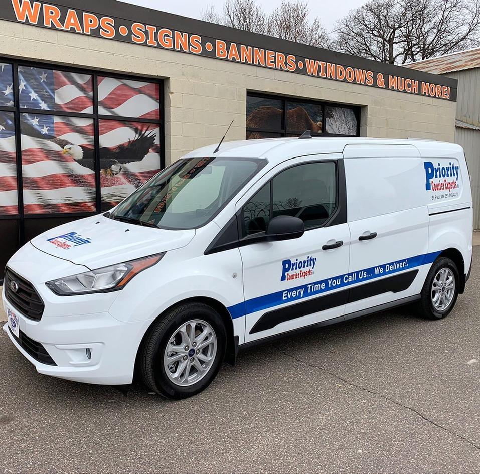 Cut Vinyl on Fleet of Priority Vans