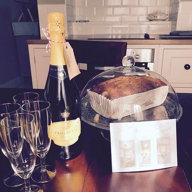 All set for tonight's guests. Bubbles and chocolate chip banana bread.jpg