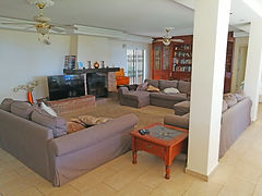 Huge lounge with good seating area, 3 sofa beds, games table, large fireplace ideal for a snug Christmas.