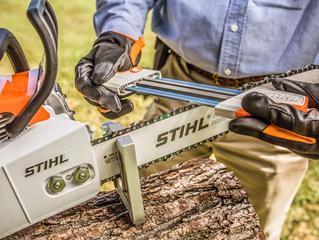 Preparing to Sharpen a Chainsaw
