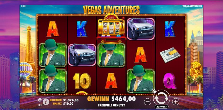 Guthaben nach 15 Minuten bei Vegas Adventures