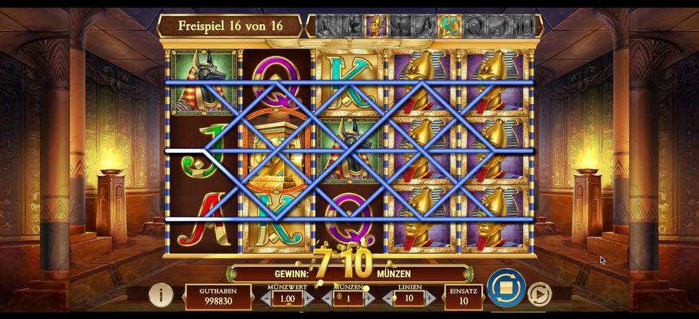 710 Münzen Gewinn in 16 Freispielen