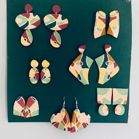 Homemade ceramic summer earrings!!!