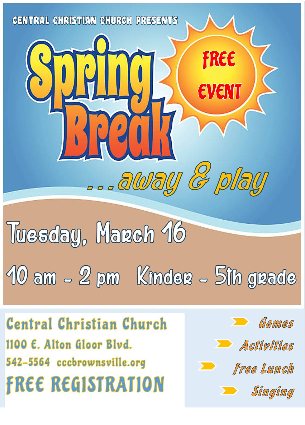 Spring Break Away and Play PIcture Flyer