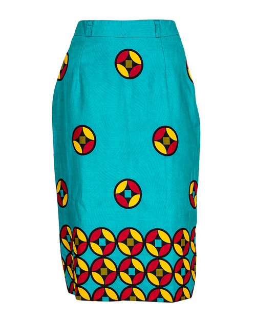 Turquoise African Print Pencil Skirt   VivienneTaa   Bespoke ...