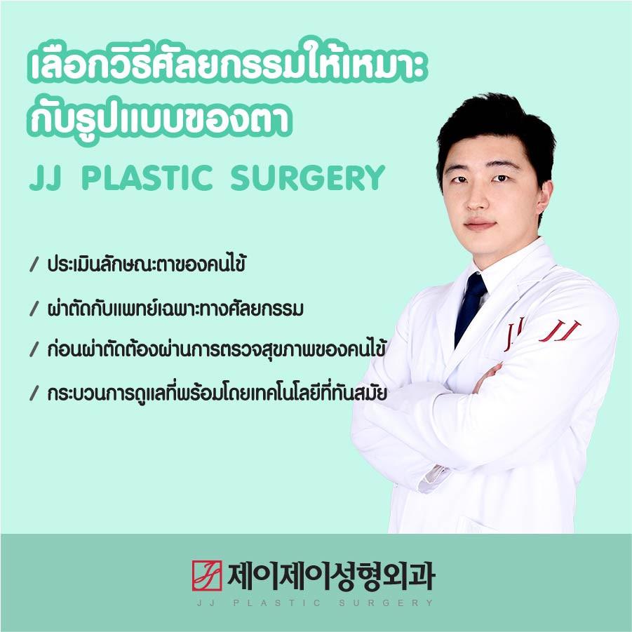 เลือกวิธีศัลยกรรมให้เหมาะกับรูปแบบของตา โรงพยาบาลเจเจ / ประเมินลักษณะตาของคนไข้ / ผ่าตัดกับแพทย์เฉพาะทางศัลยกรรม / ก่อนผ่าตัดต้องผ่านการตรวจสุขภาพของคนไข้ / กระบวนการดูแลที่พร้อมโดยเทคโนโลยีที่ทันสมัย