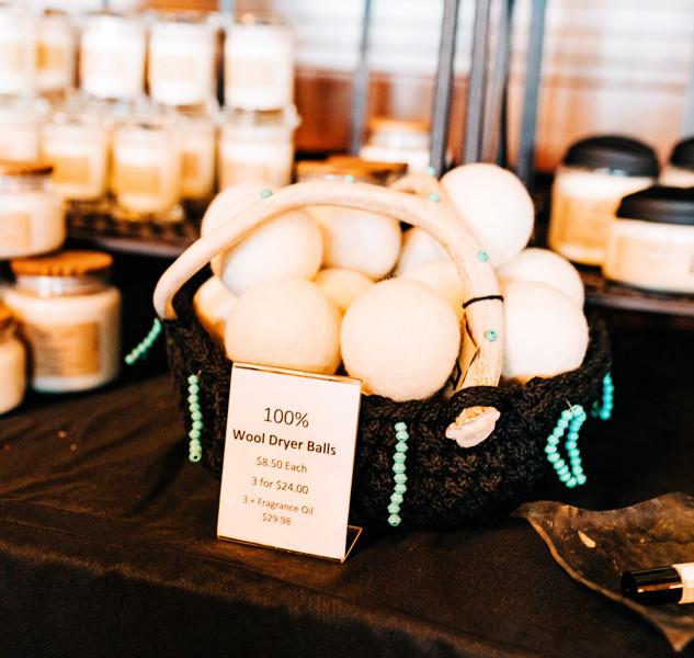 wool dryer balls for sale at boerne handmade market