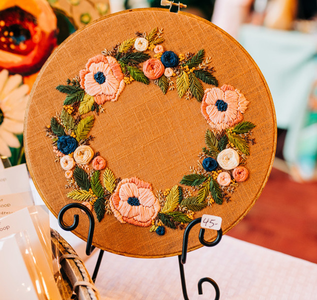 floral embroidery art in hoop at boerne handmade market