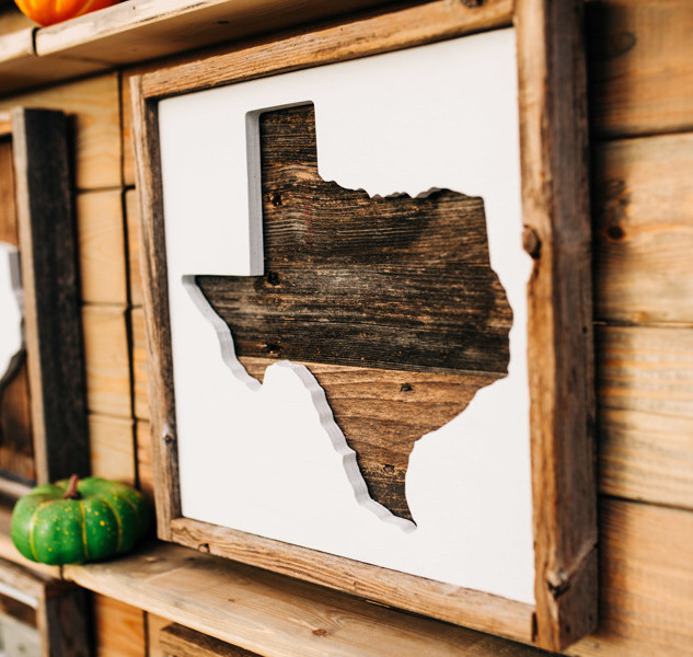 wooden texas sign for sale at boerne handmade market