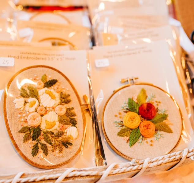 floral embroidery art in hoop at boerne handmade market