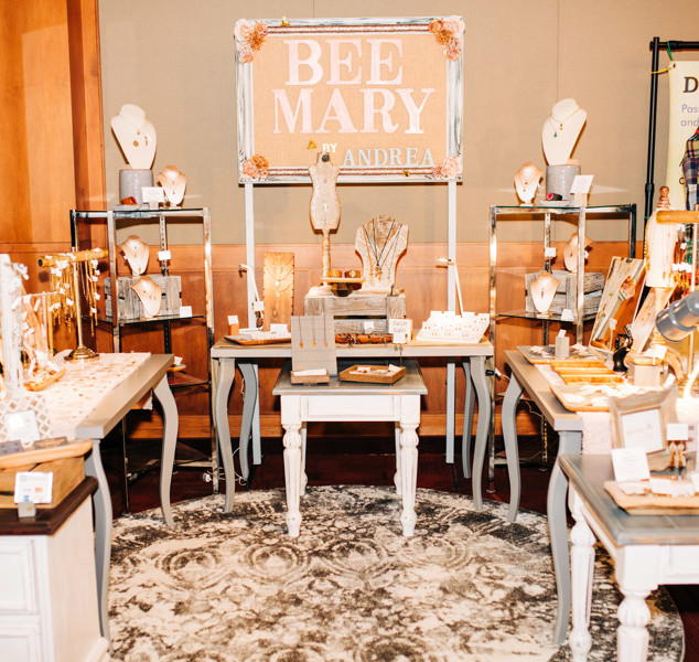 bee mary vendor booth with jewelry at boerne handmade market