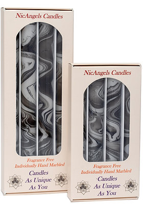 Black & Silver candles, fragrance free