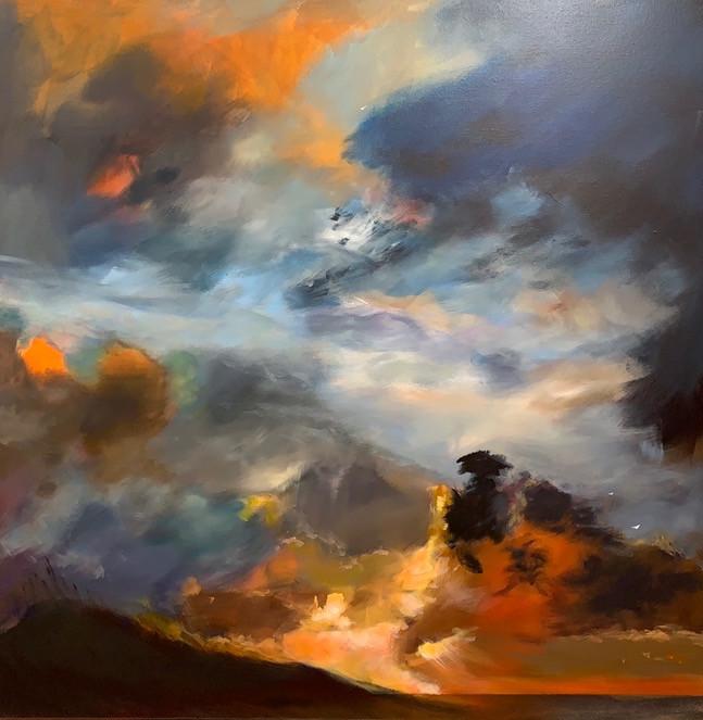 'Through the Clouds' 80 cm X 80 cm