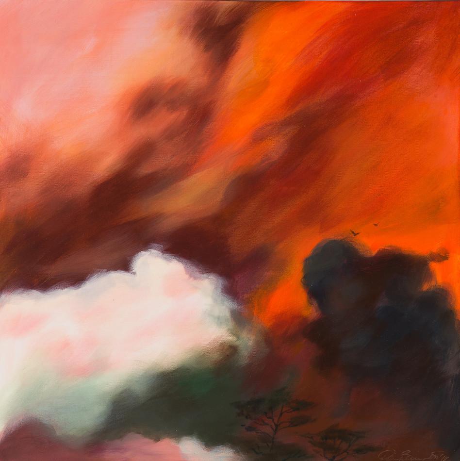 ''Red Sky Rising' 64 cm X 64 cm