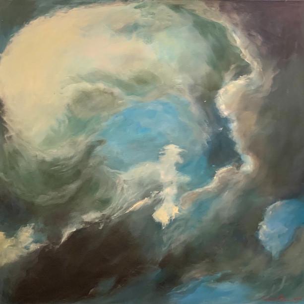 Title: 'Cloud Circles' Medium: Acrylic on canvas Size: 64cm X 64cm Painting: $1,600 Print: $375 Free freight worldwide