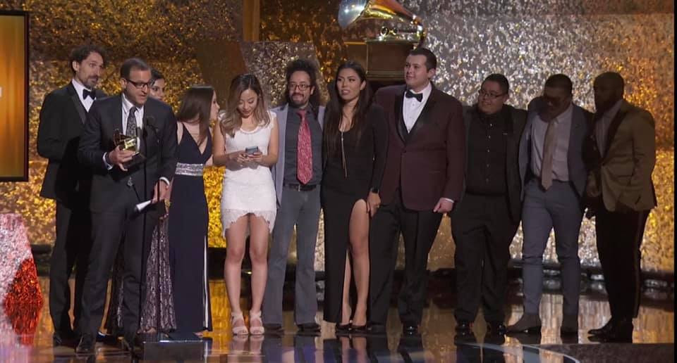 Salvador Perez, Bremen Band graduate and 4th from the right in this picture, on stage at the 2019 Grammy Awards