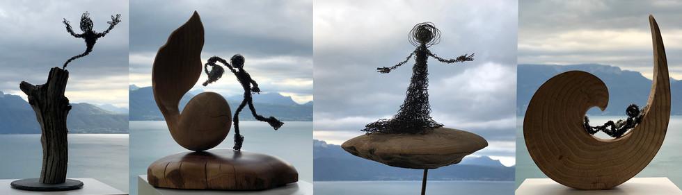 sculptures bois et fil de fer