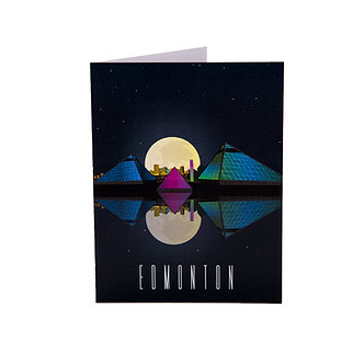 Muttart with full moon reflection card