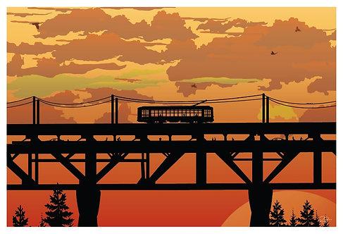 Postcard - 4x6 - High Level at Sunset