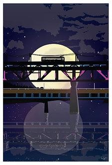 Postcard - 4x6 - High level bridge with full moon