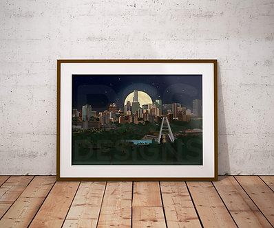City of Edmonton by Moonlight