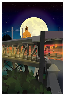 Postcard - 4x6 -Driving the High Level at night