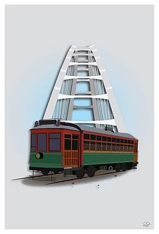 Postcard - 4x6 - Walter Dale Bridge with Trolly