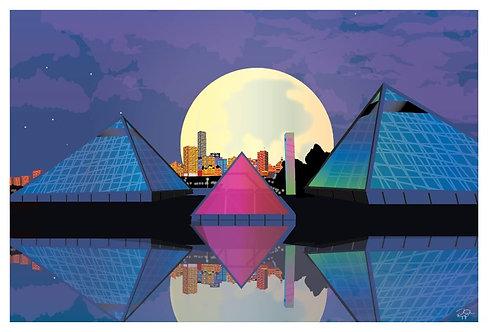 Postcard - 4x6 - Pop Art - Muttart Conservatory by Moonlight