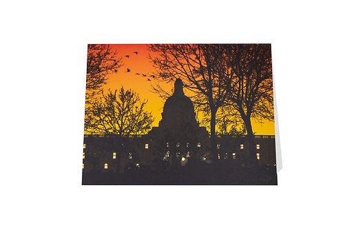 Leg building at sunset card