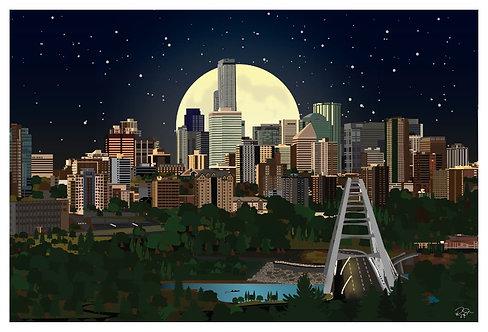 Postcard - 4x6 - City of Edmonton by Moonlight